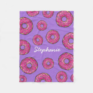 Custom Name Pink Donuts Purple Fleece Blanket