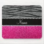 Custom name pink glitter light gray zebra stripes mousepads