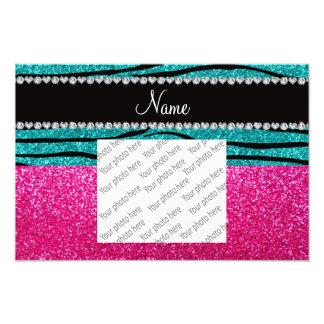 Custom name pink glitter turquoise zebra stripes photo