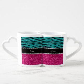 Custom name pink glitter turquoise zebra stripes lovers mugs