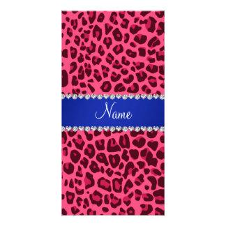 Custom name pink leopard print blue stripe photo card template