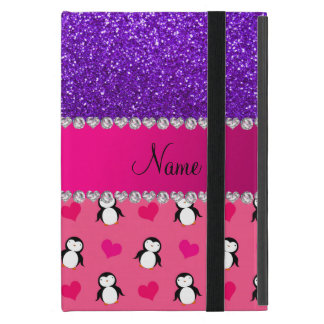 Custom name pink penguins indigo purple glitter iPad mini case