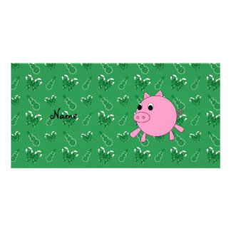 Custom name pink pig green candy canes snowmen photo card template