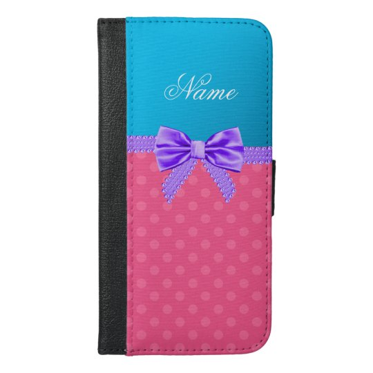 Custom name pink polka dots purple bow iPhone 6/6s plus wallet case