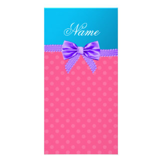Custom name pink polka dots purple bow picture card