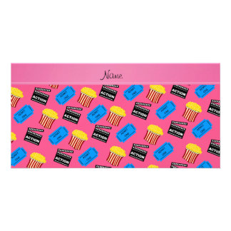Custom name pink popcorn movie ticket action sign customized photo card