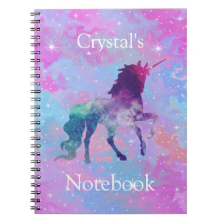 Custom Name Pink/Purple Galaxy Unicorn Notebook