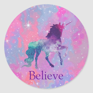 Custom Name Pink/Purple Galaxy Unicorn Sticker