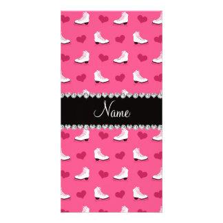 Custom name pink skates and hearts customized photo card