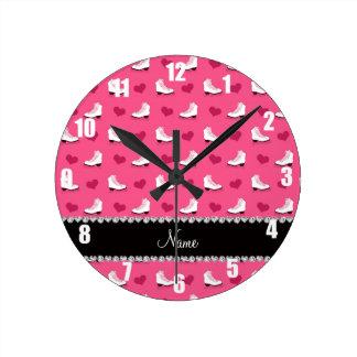 Custom name pink skates and hearts round clock
