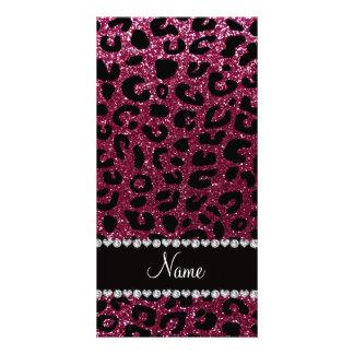 Custom name plum purple glitter cheetah print photo greeting card