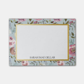 Custom Name Post-It | Blue, Gray, Gold Foil Floral Post-it Notes