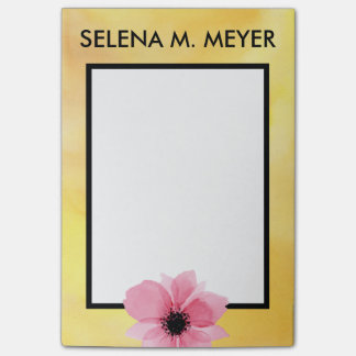 Custom Name Post It Watercolor Flower Pink Yellow Post-it Notes