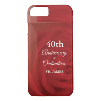Custom Name Priest Anniversary Ordination Red Rose iPhone 8/7 Case