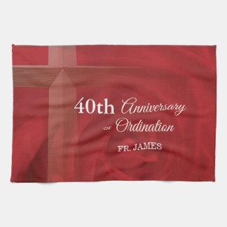 Custom Name Priest Anniversary Ordination Red Rose Kitchen Towel