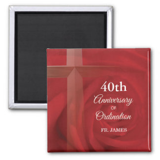Custom Name Priest Anniversary Ordination Red Rose Magnet