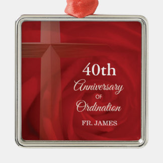 Custom Name Priest Anniversary Ordination Red Rose Metal Ornament