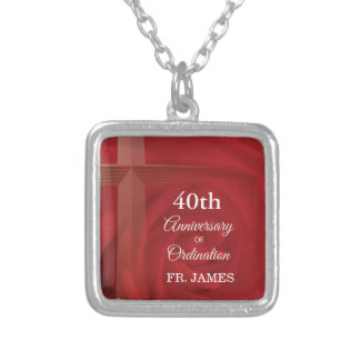 Custom Name Priest Anniversary Ordination Red Rose Silver Plated Necklace