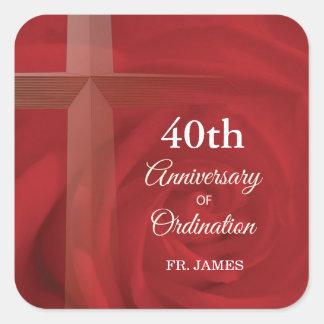 Custom Name Priest Anniversary Ordination Red Rose Square Sticker