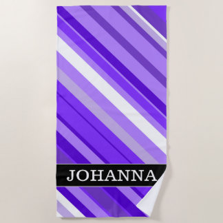 Custom Name + Purple and White Striped Pattern Beach Towel