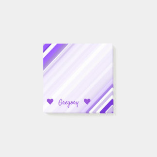 Custom Name + Purple and White Striped Pattern Post-it Notes