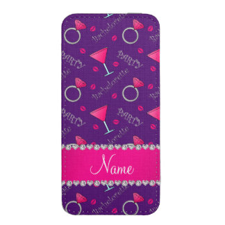Custom name purple bachelorette cocktails rings iPhone pouch