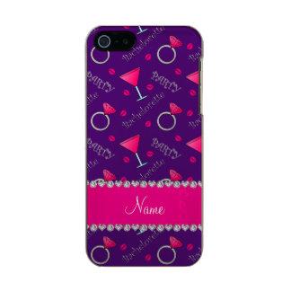 Custom name purple bachelorette cocktails rings incipio feather® shine iPhone 5 case