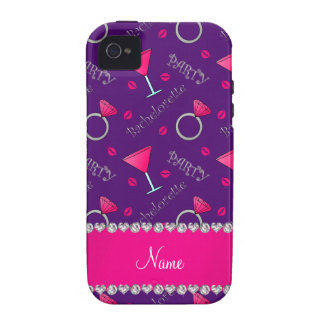 Custom name purple bachelorette cocktails rings iPhone 4 cases
