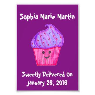 Custom Name Purple Cupcake Print Wall Print Art Photo