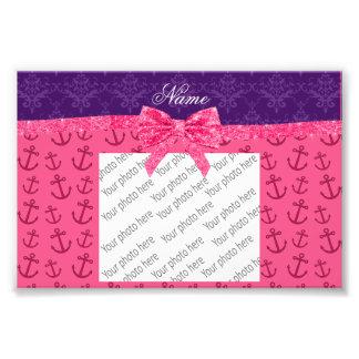 Custom name purple damask pink anchors bow photograph