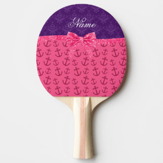 Custom name purple damask pink anchors bow ping pong paddle