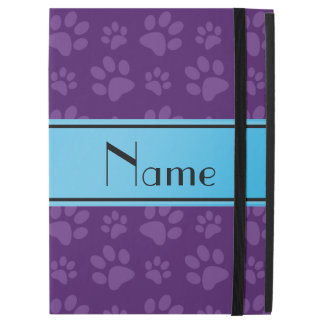 Custom name purple dog paws blue stripe
