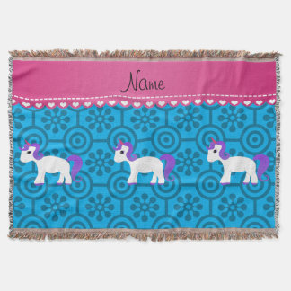 Custom name purple hair unicorn blue retro flowers throw blanket