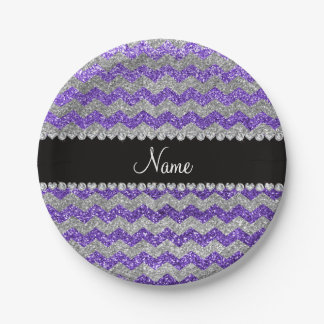Custom name purple silver glitter chevrons paper plate
