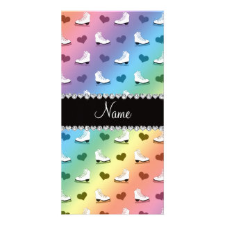 Custom name rainbow skates and hearts photo card