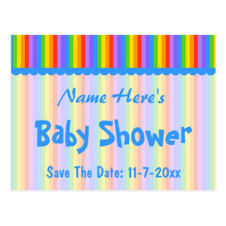 Custom Name. Rainbow Stripes Baby Shower. Postcard