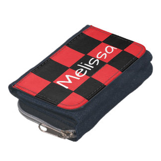 Custom Name Red and Black Checkered Wallet
