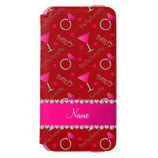 Custom name red bachelorette cocktails rings incipio watson™ iPhone 6 wallet case