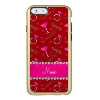 Custom name red bachelorette cocktails rings incipio feather® shine iPhone 6 case
