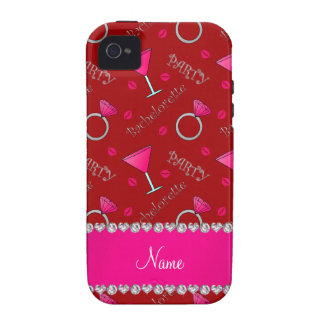 Custom name red bachelorette cocktails rings vibe iPhone 4 case