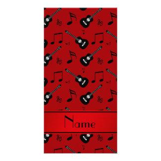 Custom name red black guitars music notes photo card