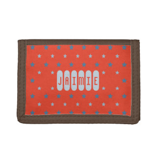 Custom name red blue stars kids trifold wallet