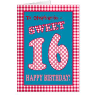 Custom Name Red Check, Polkas, Sweet 16th Birthday Card