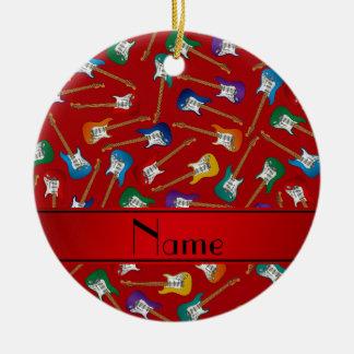 Custom name red colorful electric guitars ceramic ornament