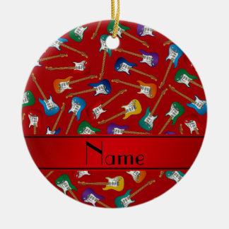 Custom name red colorful electric guitars round ceramic ornament