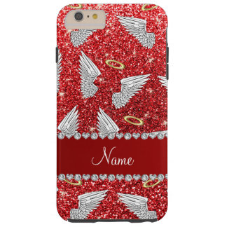 Custom name red glitter angel wings tough iPhone 6 plus case