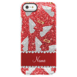 Custom name red glitter angel wings uncommon permafrost® deflector iPhone 5 case