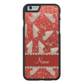 Custom name red glitter angel wings carved® maple iPhone 6 case