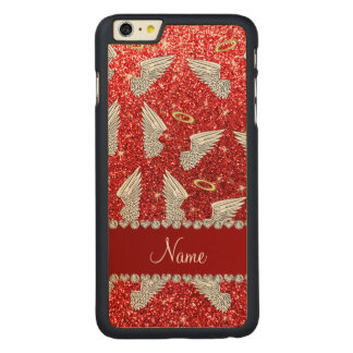 Custom name red glitter angel wings carved® maple iPhone 6 plus slim case