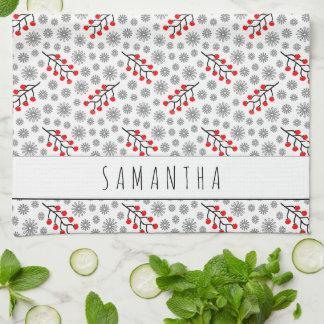 Custom Name Red Gray Scandinavian Floral Pattern Kitchen Towel